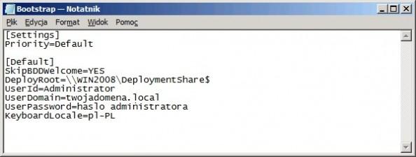 Rysunek 5. Przeedytowany plik Bootstrap.ini