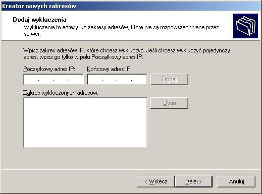 Rysunek 11. Wykluczenie adresu zpuli DHCP.