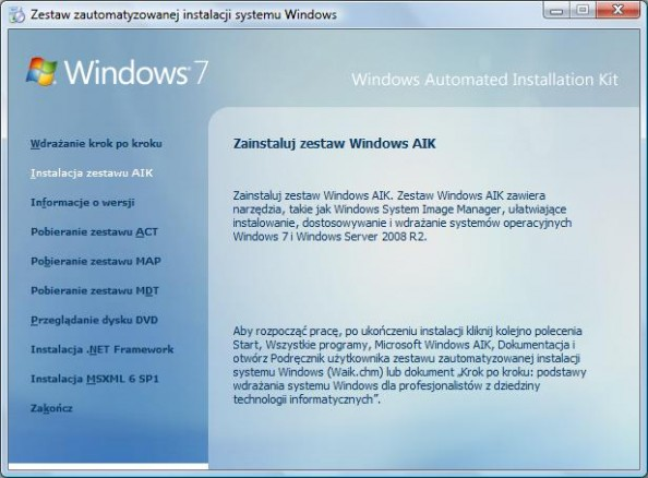 Rysunek 1. Windows Automated Instalation Kit