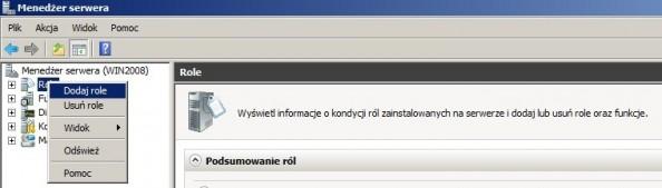 Rysunek 1. Dodawanie roli wWindows Server 2008