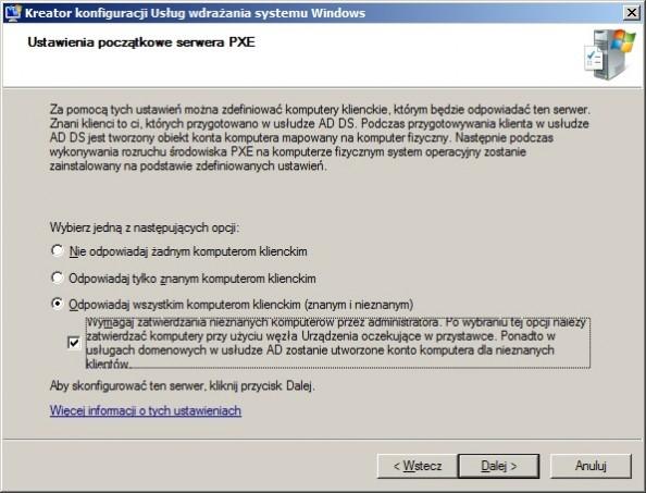 Rysunek 12. Ustawienia początkowe serwera PXE