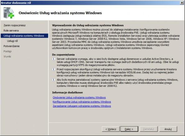 Rysunek 3. Wprowadzenie doUsług wdrażania systemu Windows