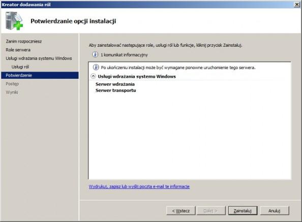 Rysunek 5. Potwierdzanie opcji instalacji