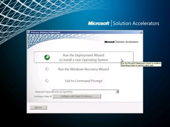 Rysunek 3. Uruchomienie kreatora wdrażania systemu Windows