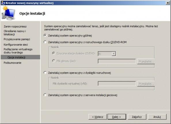 Rysunek 7. Wybór sposobu instalacji systemu.