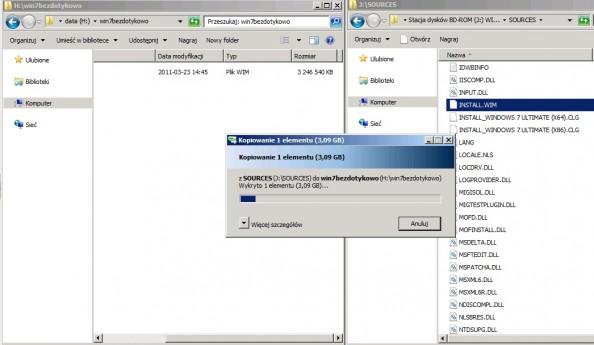 Rysunek 2. Kopiowanie pliku .wim zobrazem Windows 7.