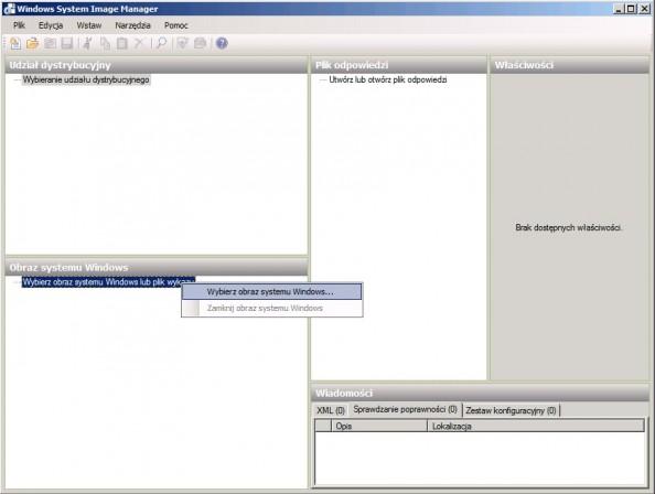 Rysunek 4. Wybieranie obrazu systemu Windows.