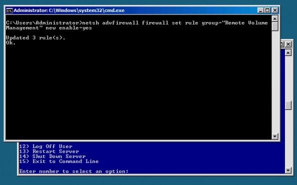 Rysunek 23. Włączenie nafirewallu możliwości zdalnego zarządzania woluminami.