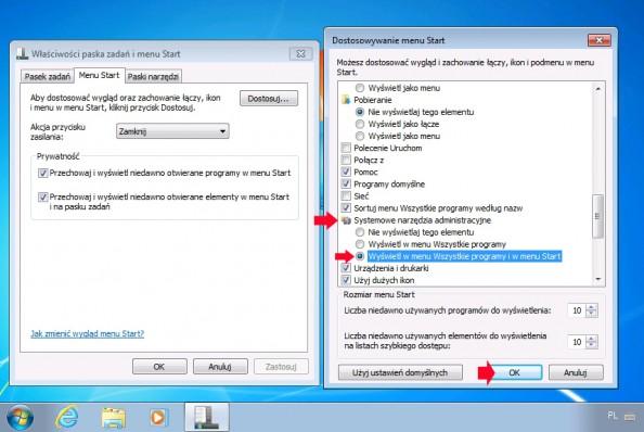 Rysunek 41. Dodanie zakładki narzędzia administracyjne domenu start.