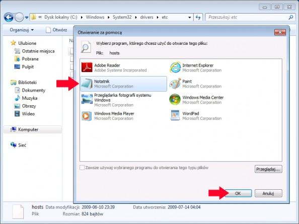 Rysunek 50. Edycja pliku hosts zapomocą windowsowego notatnika.