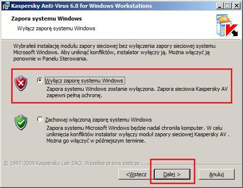 Ryysunek 9. Wyłączanie zapory systemu Windows.