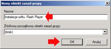 Rysunek 21. Definiowanie nazwy dla nowgo obiektu zasad grup.