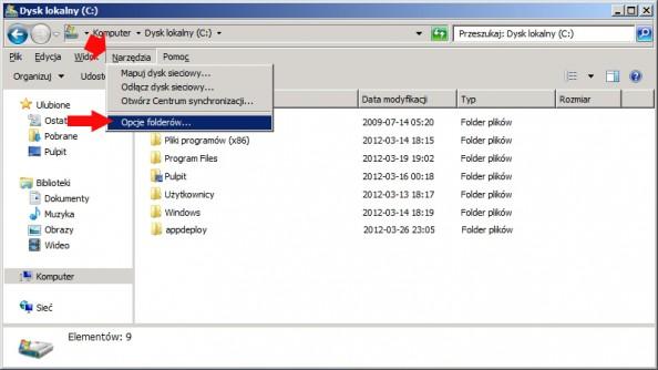 Rysunek 7. Zmiana opcji folderów.