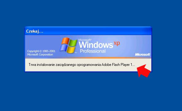 Rysunek 31. Bezdotykowa instalacja programu Adobe Flash Player.