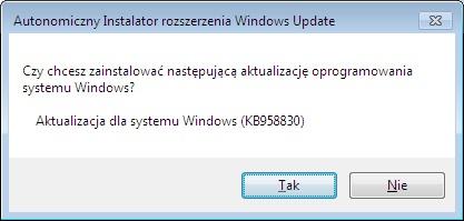 Rysunek 2. Potwierdzenie instalacji aktualizacji.