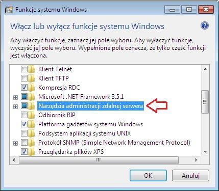 Rysunek 8. Okno włączania/wyłączania funckji systemu Windows