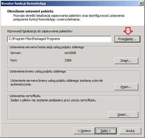 Rysunek 13. Zmiana domyślnej ścieżki pakietów RemoteApp.