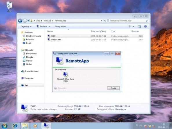 Rysunek 20. Łączenie zserwerem zapomocą funckji RemoteApp.