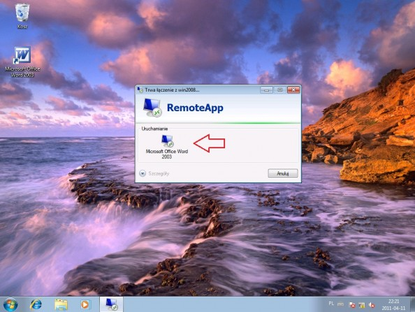 Rysunek 30. Wywołanie funkcji RemoteApp.