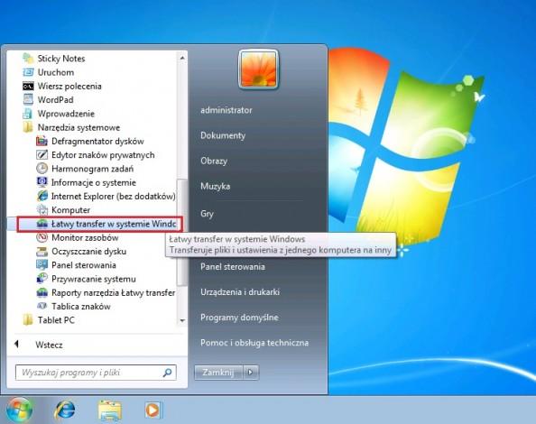 Rysunek 15. Uruchomienie narzędzia Łatwego transferu wsystemie Windows 7.
