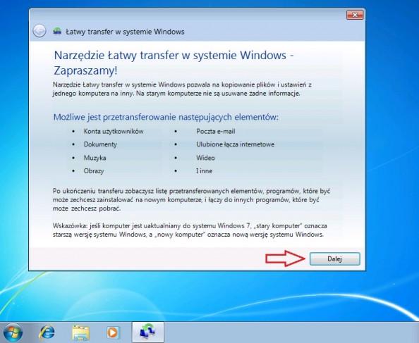 Rysunek 16. Pierwsze okno kreatora łatwego transferu plików iustawień.