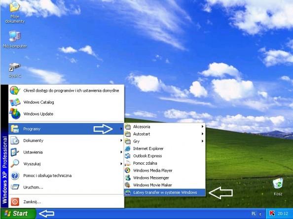 Rysunek 2. Uruchomienie narzędzia Łatwego transferu wsystemie Windows.
