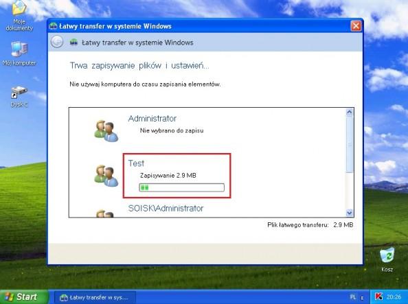 Rysunek 9. Rozpoczęty proces transferu plików iustawień.