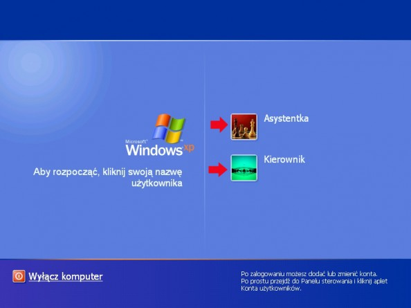 Rysunek 1. Okno logowania dosystemu Windows Xp Professional.