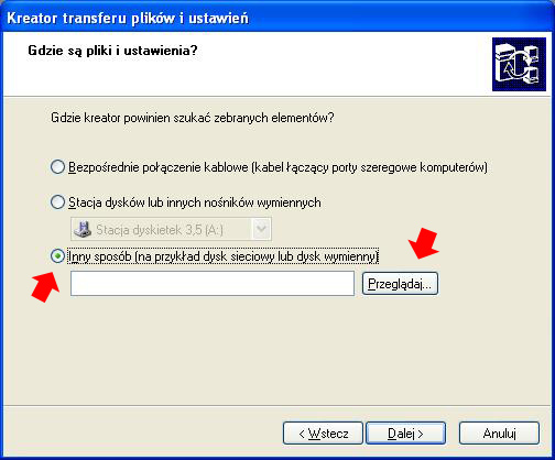 Rysunek 19. Wskazanie lokalizacji zawierającej plik transferu.