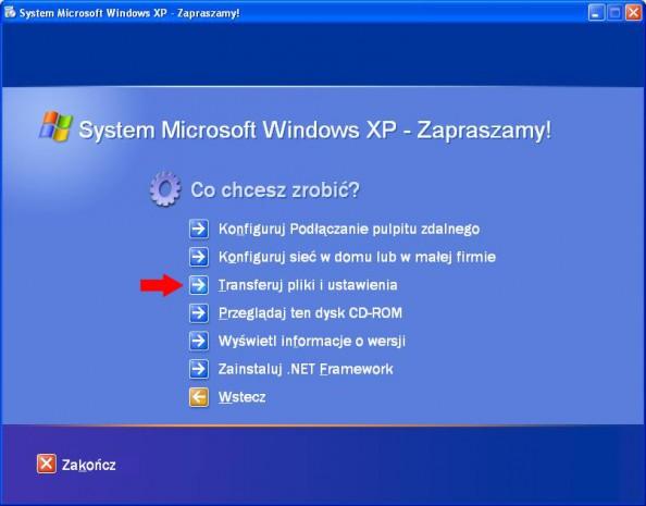 Rysunek 2. Narzędzie Transferu plików iustawień znajdujące się napłycie instalatora Windows XP.