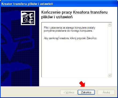Rysunek 23. Koniec pracy kreatora transferu plików iustawień nanowy komputer.