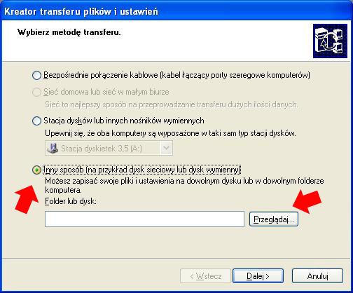 Rysunek 7. Wybór lokalizacji dla pliku transferu.
