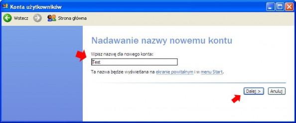 Rysunek 3. Tworzenie konta dla nowego użytkownika.