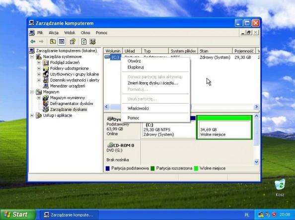 Rysunek 2. Zakładka zarządzania dyskami wprzystawce Zarządzanie komputerem.