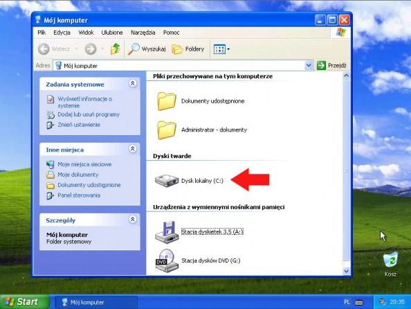 Rysunek 15. Podgląd partycji poprzez Mójkomputer.