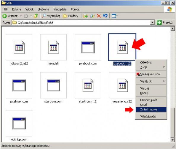 Rysunek 10. Zmiana nazwy pliku pxeboot.n12 napxeboot.0