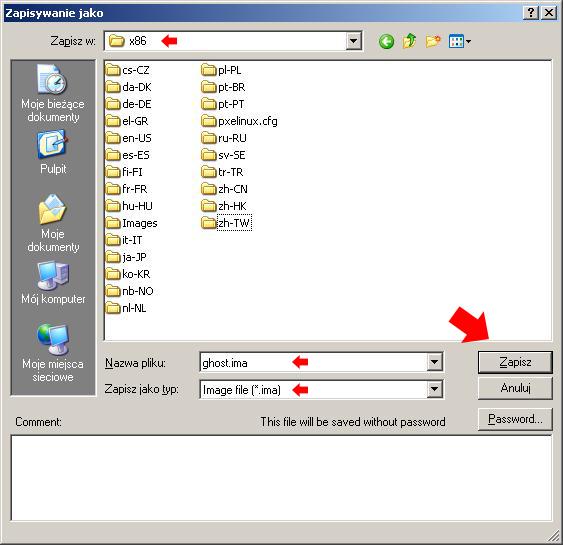Rysunek 33. Zapis pliku obrazu wlokalizacji g:\RemoteInstall\Boot\x86.