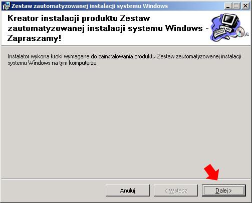 Rysunek 2. Instalacja Windows AIK