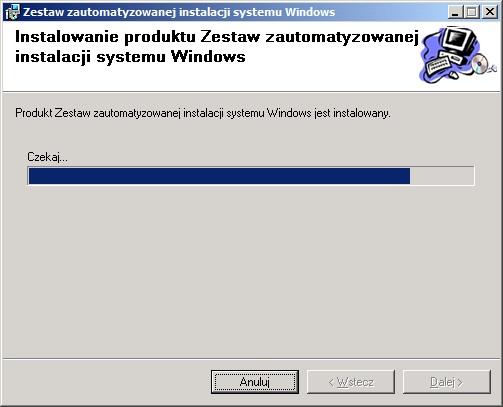 Rysunek 6. Proces instalacji zestawu narzędzi Windows AIK został rozpoczęty.