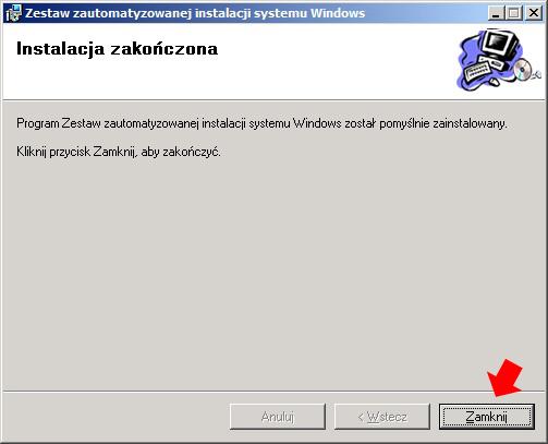 Rysunek 7. Proces instalacji zestawu narzędzi Windows AIK został zakończony.