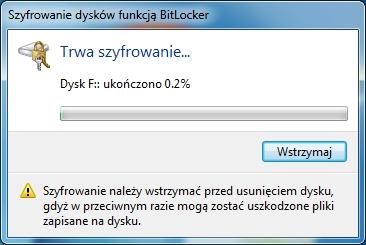 Rysunek 11. Procesz szyfrowania dysku USB został rozpoczęty.