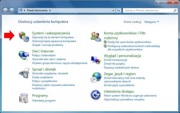 Rysunek 3. Widok panelu sterowania systemu Windows 7.