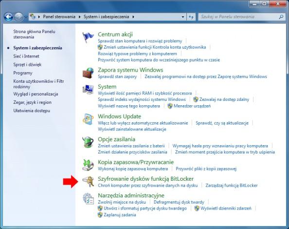 Rysunek 4. Szyfrowanie dysków funkcją BitLocker.