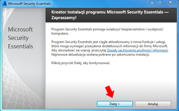 Rusinek 1. Kreator instalacji oprogramowania Microsoft Security Essentials.
