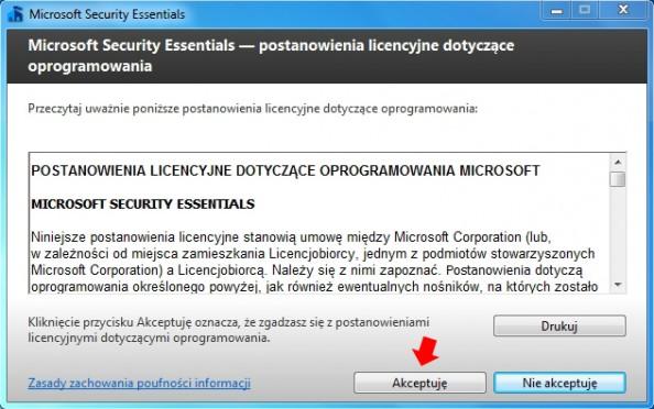 Rysunek 2. Kreator instalacji oprogramowania Microsoft Security Essentials.