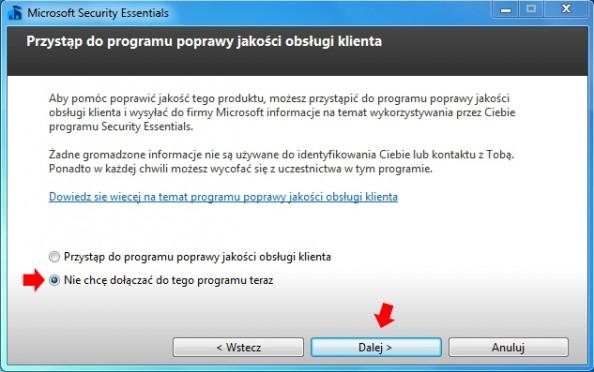Rysunek 3. Kreator instalacji oprogramowania Microsoft Security Essentials.