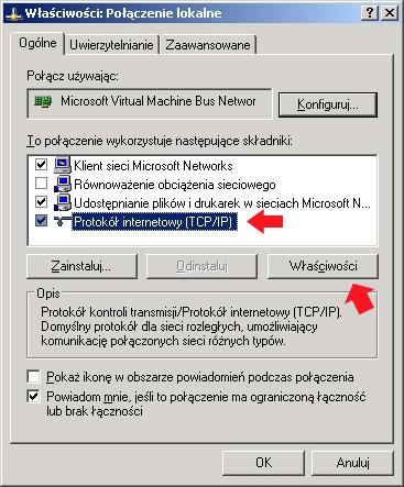 Rysunek 2. Właściwości protokołu internetowego TCP/IP/