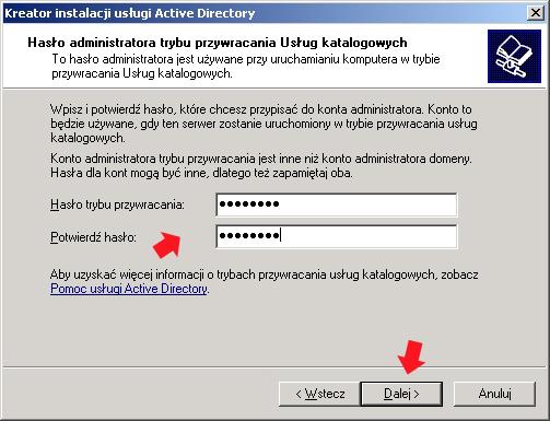 Rysunek 21. Definiowanie hasła administratora trybu przywracania usług katalogowych