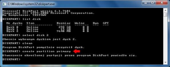 Rysunek 7. Tworzenie nadysku USB partycji podstawowej.
