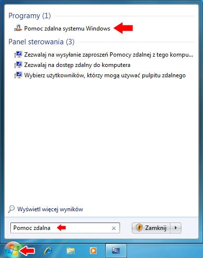 Rysunek 1. Uruchamianie narzędzia Pomocy zdalnej systemu Windows.
